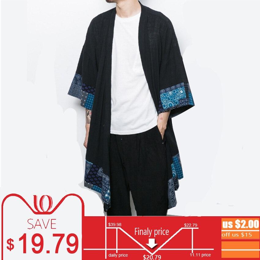 4b2b0f4586 Cotton Linen Japanese Kimono Cardigan Men Trench Coat Male Autumn Long  Jacket Men s Shawl Spring Jacket Mens Cape Overcoats 2018