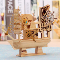 Mediterranean Style Wooden Sailing Ship Handmade Model SailBoat Wonderful Gifts Wood Music Box Home Decoration Crafts