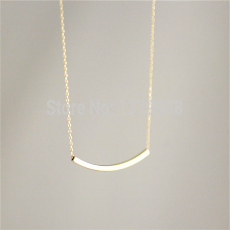 Goldsilver curved bar shape necklace, simple design curved bar necklace cute  pendant-necklace for women girl