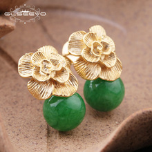 GLSEEVO 925 Sterling Silver Ear Pin Natur Round Jade Drop Earrings For Women Plant Leaves Wedding Earrings Smycken GE0336B