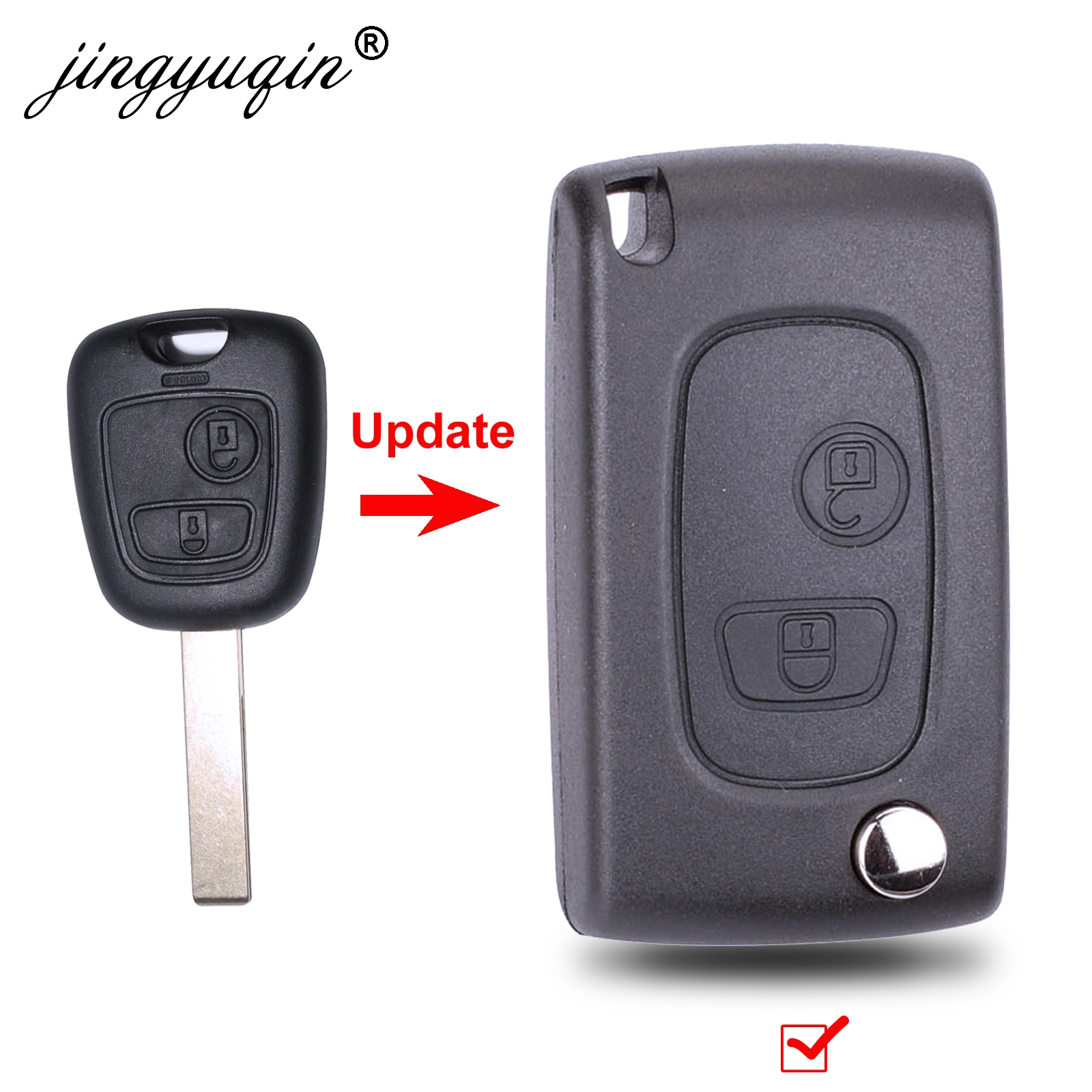 jingyuqin Modified Flip Folding Remote Key Shell fit for PEUGEOT 307 607 207 407 2BTN Key Case Fob  VA2/HU83 Bladejingyuqin Modified Flip Folding Remote Key Shell fit for PEUGEOT 307 607 207 407 2BTN Key Case Fob  VA2/HU83 Blade