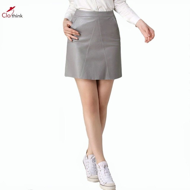 3433d44c29 Clothink Women 2 Colors Gray/Pink High Waist PU Pencil Skirt 2016 Brief  Solid Work Street Leather Short Mini Tight Skirts