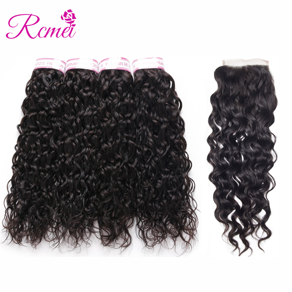 Rcmei Malaysian Water Wave hair 4 Bundles With Lace Closure 4x4 Human Hair weave 5pcs/lot Non Remy Water Wave Hair extension