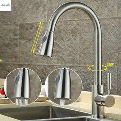 Nickel Gebürstet Küche 360 Grad Rotation Pull Out Basin Wasserhahn Wasser Auslauf Spray Swivel Einzigen Griff Kalt Und Heiß Mixer tippen