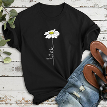 Daisy Printed Black T Shirt for Women 2020 Summer Tops and Tees Short Sleeve Cas