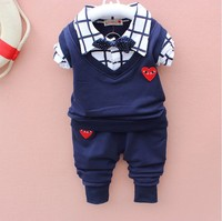 Baby Boy Clothes 2017 Spring New Brand Gentleman Plaid Clothing Suit For Newborn Baby Bow Tie