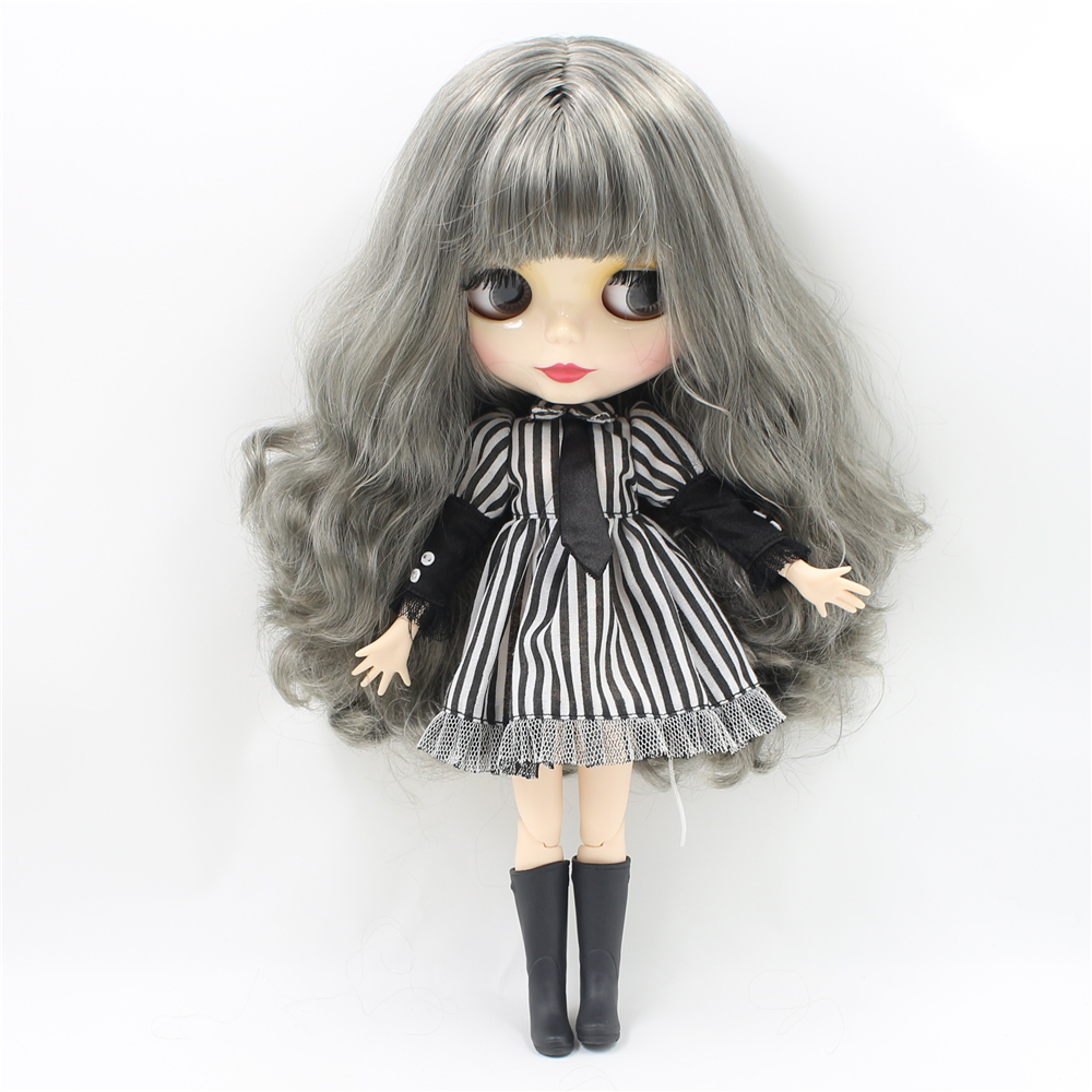 Nude Blyth Doll with Joint Body Sliver Grey Long Hair Bangs DIY White Skin 30cm fashion doll toysNude Blyth Doll with Joint Body Sliver Grey Long Hair Bangs DIY White Skin 30cm fashion doll toys