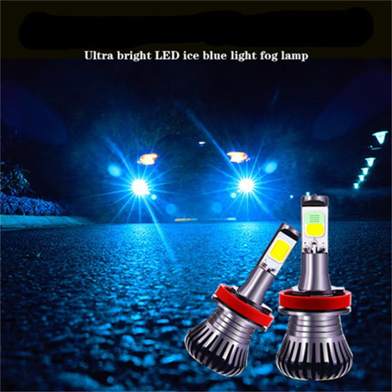 2pc Dual Color LED Fog Driving Lamp Tail Bulbs Car Turn Light DRL H3 H11 H8 H9 HB3 HB4 9005 9006 H27 880 881 White Ice Blue