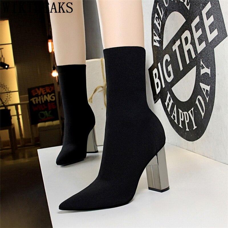 Ботинки с блестками толстом каблуке вязаная обувь женщина bigtree обувь Носки Ботинки женские ботильоны chaussures femme cizme