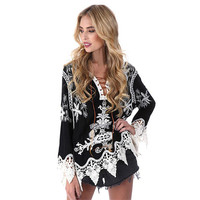 Sexy Women Floral Print Blouse Tops Vintage Autumn Clothing Casual Roll Up Sleeve Cotton Fabric High