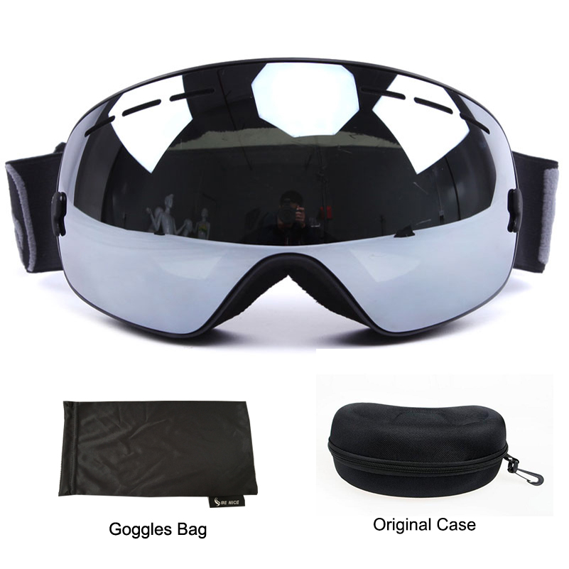 Benice 3100 Professional Ski Goggles Double Lens UV Anti-fog Spherical Skiing Snowboarding Snow Glasses Eyewear With Box Case