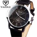Pulsera de cuero los hombres de moda relojes yazole 2017 top famosa marca de lujo hombre reloj negocio reloj de cuarzo relogio masculino