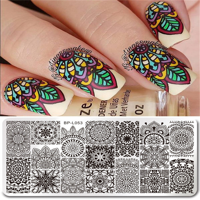 126cm born pretty rectangle nail stamping template floral design 126cm born pretty rectangle nail stamping template floral design manicure nail art image plate prinsesfo Image collections