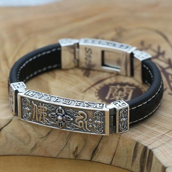 цена 100% 925 Silver Tibetan Dorje Bracelet Fine Leather Buddhist Vajra Symbol Bracelet Pure Silver Tibetan Six Words Bracelet