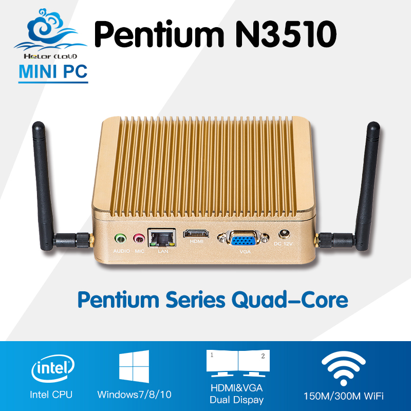 Promotion Mini PC Intel Pentium N3510 Quad Core Windows 10 Linux Mini Computer PC With Wifi HTPC TV Box Computadora цены