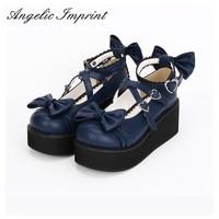 6cm Heel Royal Blue Strappy Sweet Lolita Shoes Platform Wedge Round Toe Mori Girl Shoes