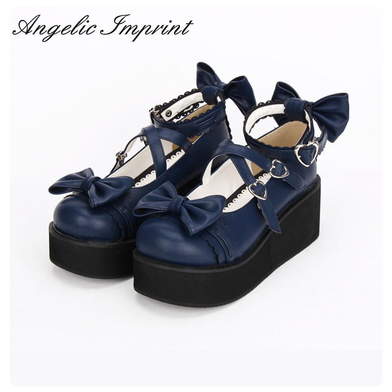 6cm Heel Royal Blue Strappy Sweet Lolita Shoes Platform Wedge Round Toe Mori Girl Shoes nayiduyun women genuine leather wedge high heel pumps platform creepers round toe slip on casual shoes boots wedge sneakers