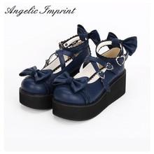 6 cm de Tacón Azul Real Sandalia Dulce Lolita Zapatos de Plataforma de Cuña Del Dedo Del Pie Redondo Zapatos de Niña Mori