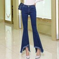 2019 New Women Flare Jeans Fashion Tassel Slim Elastic Fit Denim Female Pencil Stretchy Skinny Pants Bell Bottom Jeans Trousers