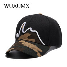 Wuaumx Camouflage Baseball Caps For Men Hat Women Summer Fashion Fitted 5 panel Snapback Curved Peaked Hip Hop Cap wholesale