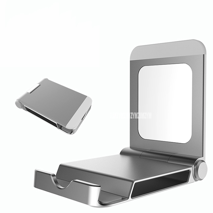 1PC Universal Portable Thin Aluminium alloy Desk Mobile Phone Pad Holder Rack Table Laptop Stand Support With Mirror