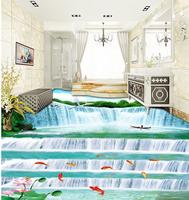 waterproof floor Landscape Waterfall 3D Floor 3d floor painting wallpaper pvc wallpaper 3d Home Decoration
