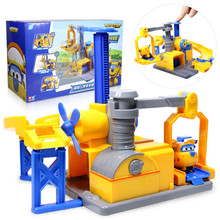 2019 Newest ABS Transformation Super Wings Donnie Maintenance Base with lift and taxiing tracks Deformation Toys