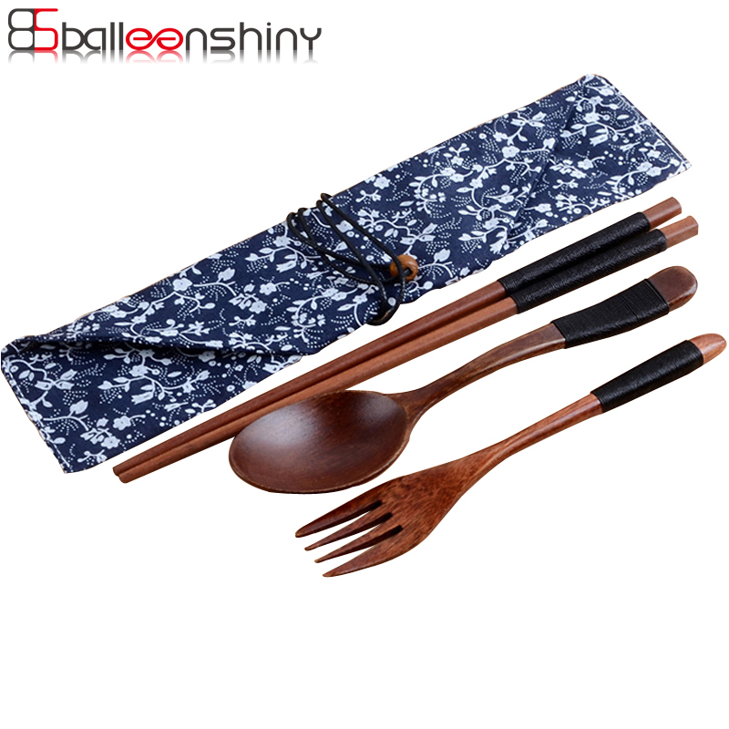 BalleenShiny Japanese Vintage Outdoor Wooden Tableware 3pcs Set with Cloth Bag for Coffee Tea Salad Gift Kitchen Tools Tableware in Dinnerware Sets from Home Garden