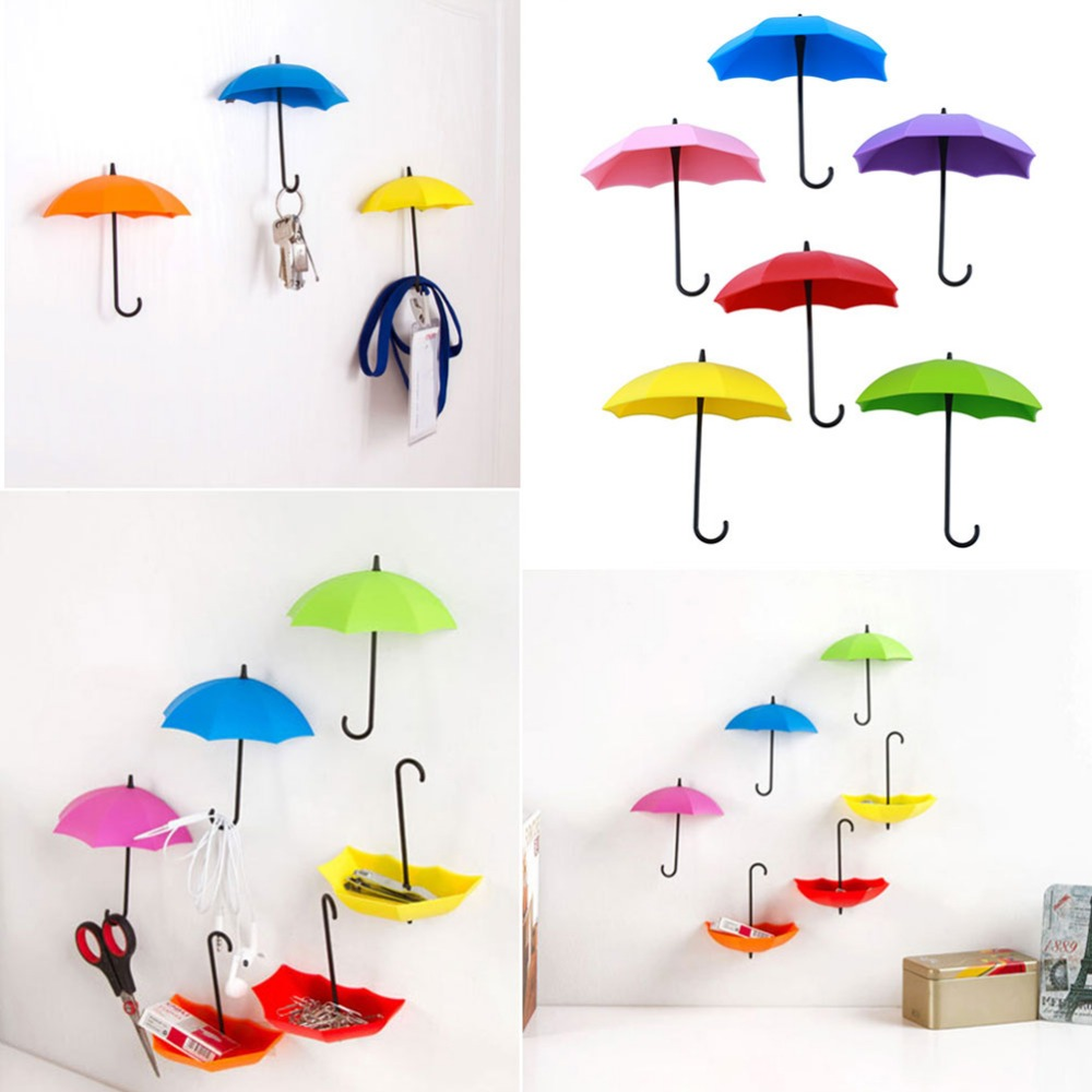 3Pcs/lot Umbrella Shape Cute Self Adhesive Wall Door Hook Hanger Bag Keys Bathroom Kitchen Sticky Holder
