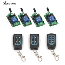 Sleeplion DC 12V 1CH RF Wireless Switch 3 4-key Waterproof Remote Control Transmitter +4 Receiver Relay 433MHz/315MHz