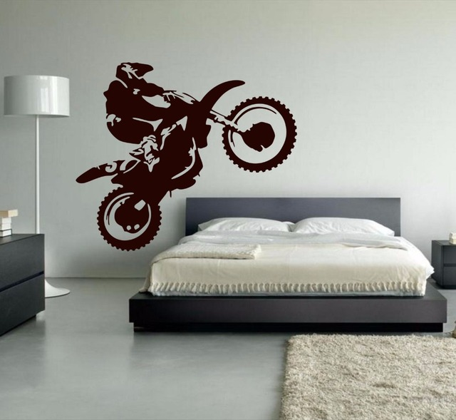 Motocross Vinyl Wall Decal Motorcycle Moto Wall Art Dirt Bike Sport Poster  Bedroom Decoration Mural Living
