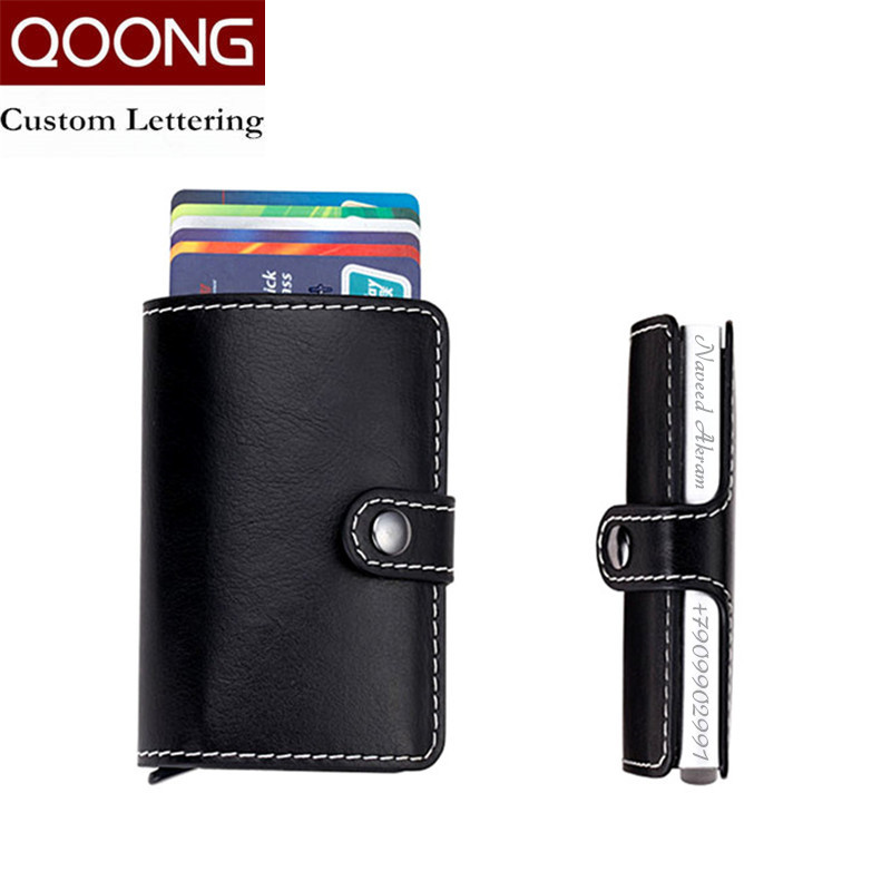 QOONG Laser Engraving Travel Card Wallet Purse Automatic Pop Up ID ...