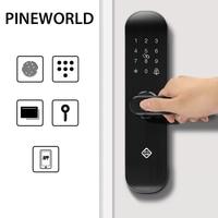 PINEWORLD Biometric Fingerprint Lock, Security Intelligent Lock With WiFi Password RFID APP Remote Unlock,Smart Lock Electronic