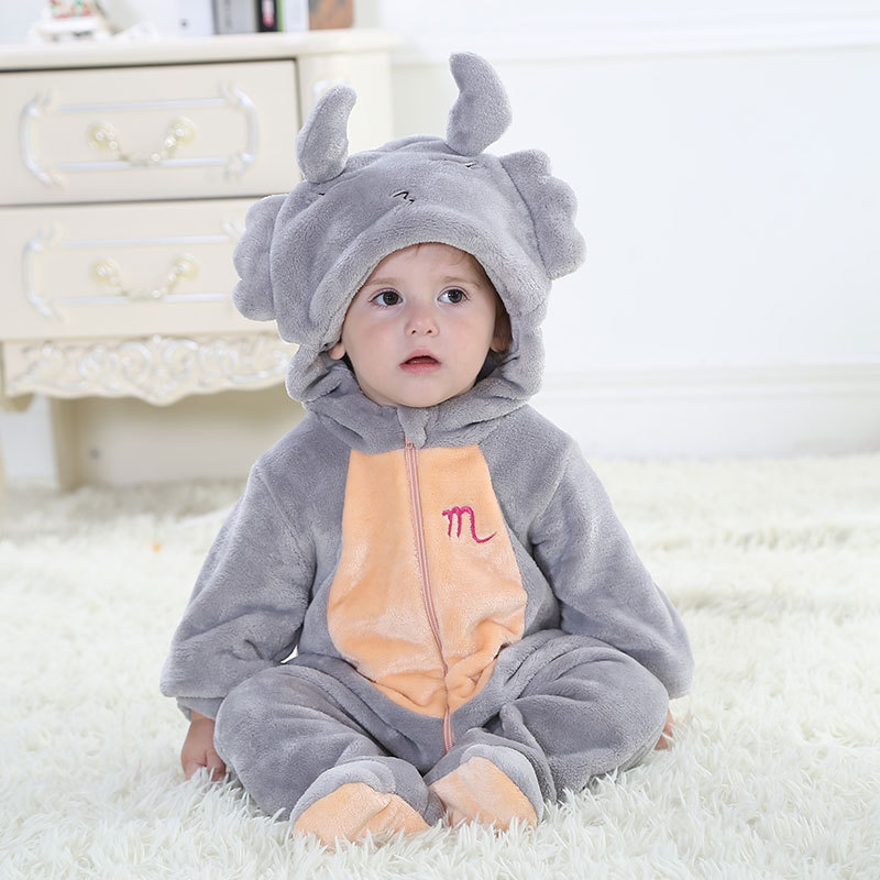 Twelve Constellation Designs Hooded Baby Blanket Sleepers Pyjamas Sleepwear For Infant Flannel pijama pajamas Homewear onesie