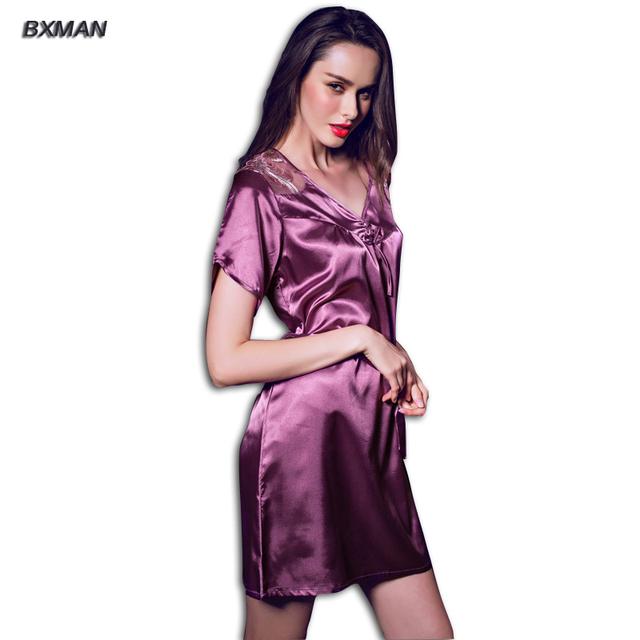 BXMAN Marca Mulheres Camisola Nova Casa de Estilo de Verão Mulheres Sleepshirts Venda Sólidos Lace Robes de Seda Para As Mulheres Sleepwear