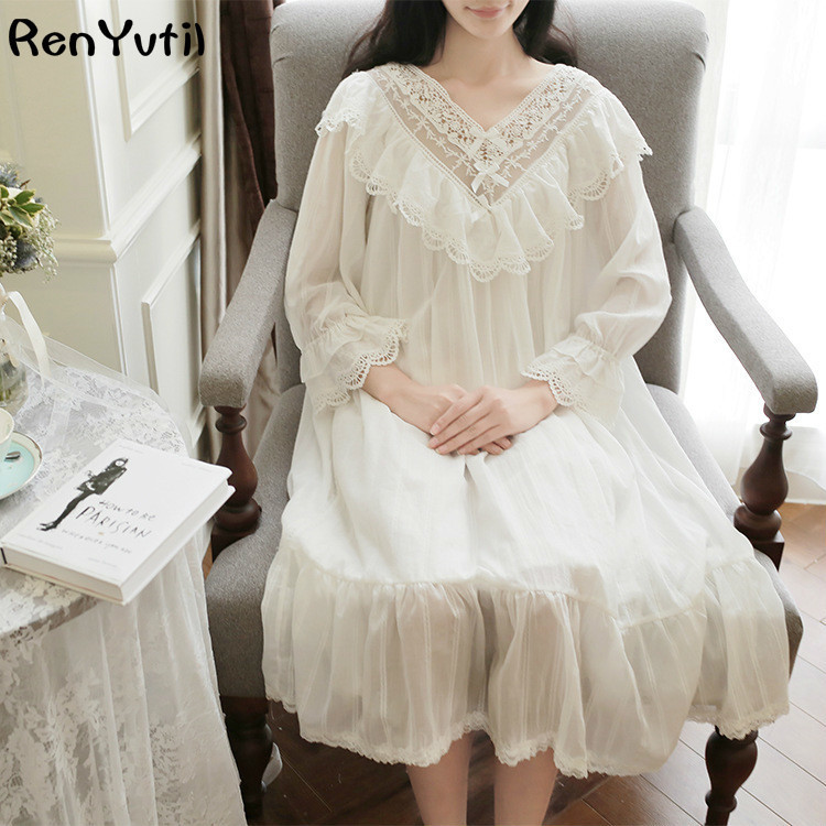 RenYvtil 2017 Summer Sleep Lounge Long Satin Nightgown With Lace Home Dress Princess Nightgowns Embroidery Cotton Nightdress