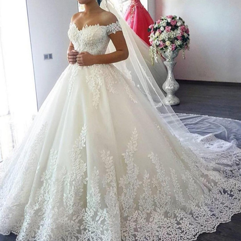 QQ Lover 2019 White Off The Shoulder Vestido De Noiva Wedding Dress Train Custom-made Plus Size Bridal Tulle Mariage