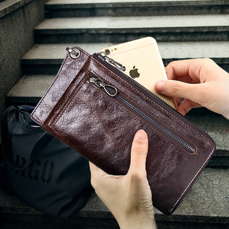 CONTACT'S Men's Wallet Genuine Leather Clutch Man Walet Brand Luxury Male Purse Long Wallets Zip Coin Purse 6.5″ Phone Pocket Men Men's Bags Men's Wallets cb5feb1b7314637725a2e7: Coffee|black