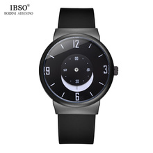 IBSO 7.8MM Ultra-Thin Creative Mens Watches 2019 Black Silicone Strap Moon Pointer Sport Quartz Watch Men Waterproof Male Clock