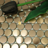 20ミリメートルラウンドローズゴールデンシャンパンカラーステンレス鋼金属モザイクタイルメッシュに取り付けられ浴室シャワーリビングルームモザイ