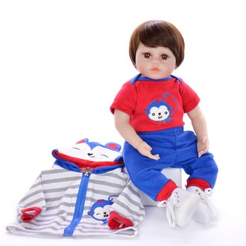 New 18 Inch Lifelike Reborn Baby Doll Soft Silicone 48cm Real Looking Baby boy Toy For Kids Christmas Birthday Gifts