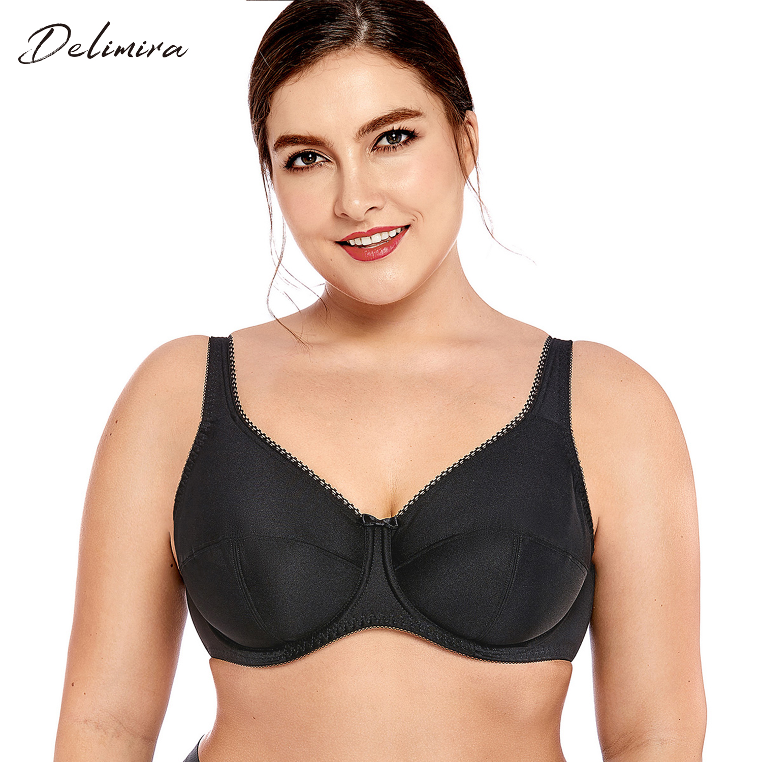 78058698046b4 DELIMIRA Women s Plus Size Full Coverage Non Padded Firm Support Control  Underwired Bra-in Bras from Underwear   Sleepwears on Aliexpress.com