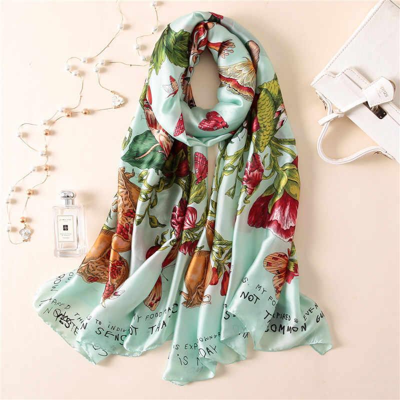 Macio 100% natural lenço de seda feminino marca de luxo impressão borboleta no floral pashmina xale femme longo bandana bufanda foulard novo