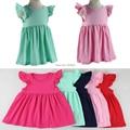 Vestido de verano vestido de la muchacha nuevo envío libre 1-6age color Sólido algodón de Las Muchachas de Princesa Kids Party Vestido Formal Vestido Aleteo