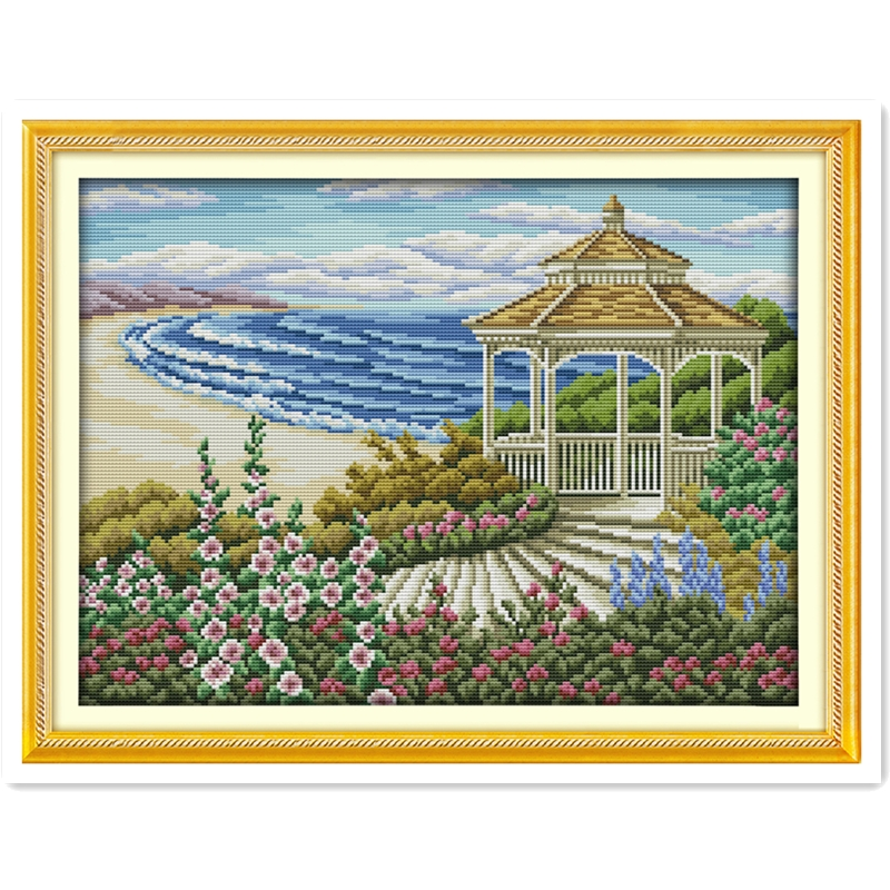 The Seaside Observation Deck DMC Cross Stitch Fabric Chinese Counted Cross Stitch Patterns Kit Needlework Embroidery Cross Set