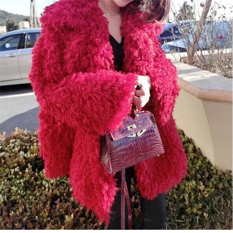 Plein D'hiver Imitation En Gilet Veste Européen Mince Nouvelle Lapin Mode Et Faux Filles Top Peluche Rouge Costume Manteau Arrivée Fourrure Américain Longues 46HWzvqq