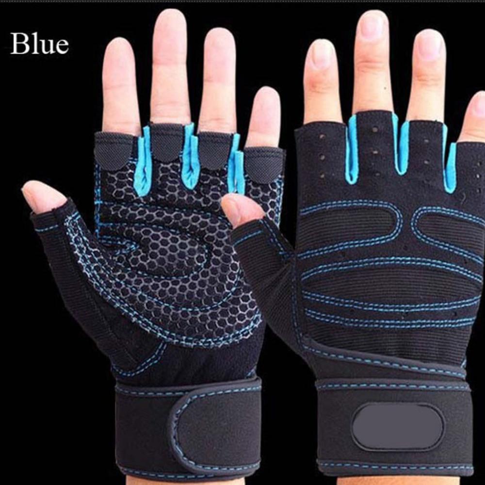 Metade do Dedo Dumbbell de levantamento de Peso Da Aptidão Crossfit Esporte Powerlifting Ginásio Luvas Respirável Luvas de Ciclismo guantes ginásio