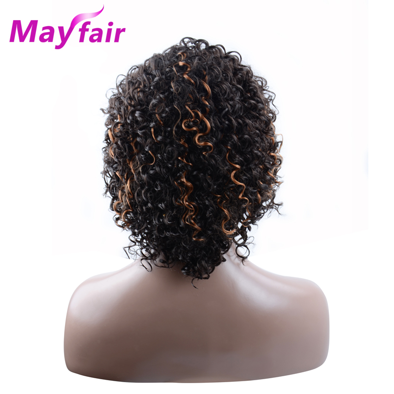 MAYFAIR 10 Inch Synthetic Wigs For Black Women 210g Short Wigs Medium Brown p2/30 High Temperature Fiber Curly Wigs Average Size