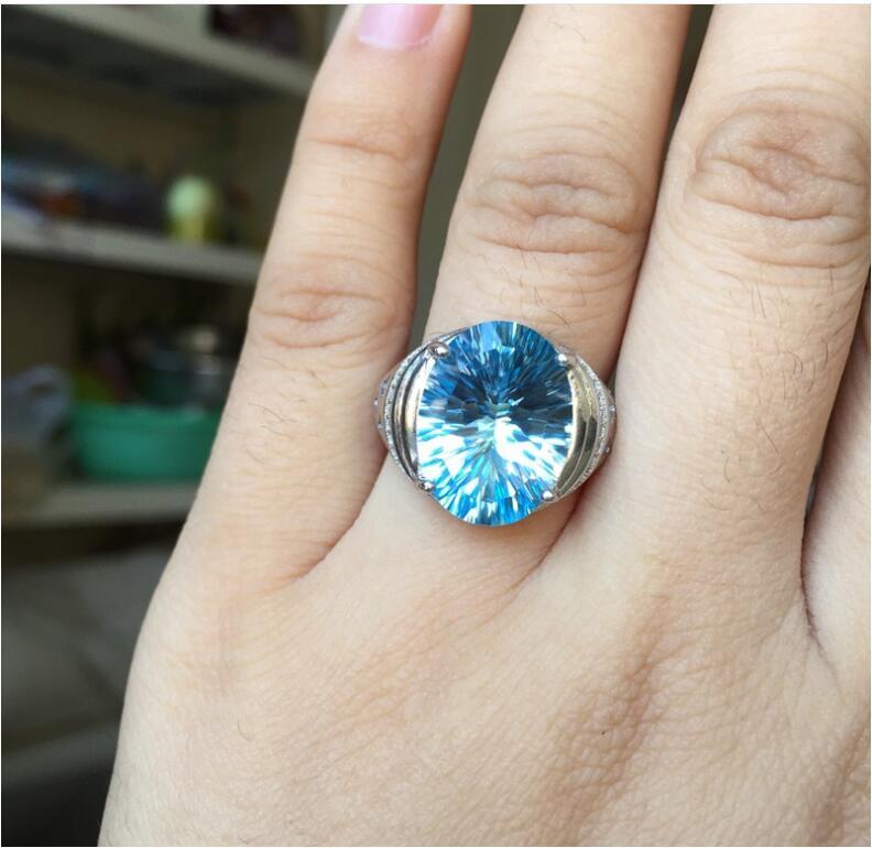 Man Ring Wedding Topaz Ring gem Finger ring Natural real blue topaz 925 sterling silver ring Wholesales For men or women chic artificial gem shell embossed ring for women