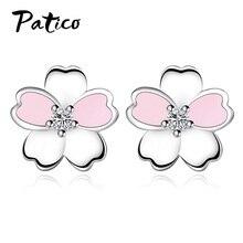 925 Sterling Silver Cubic Zirconia Flower Simple Piercing Stud Earrings For Women Ear Rings Party Wedding Jewelry